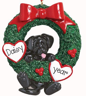 Black Dog  in Green Wreath -Personalized Christmas Ornament