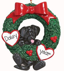 BLACK LAB IN GREEN WREATH ORNAMENT / MY PERSONALIZED ORNAMENTS