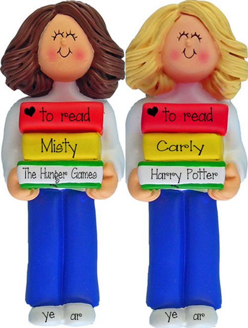 Female carrying her Favorite Books~Personalized Christmas Ornament