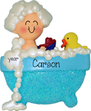 Toddler Boy in bathtub with blue glitter~Personalized Christmas Ornament