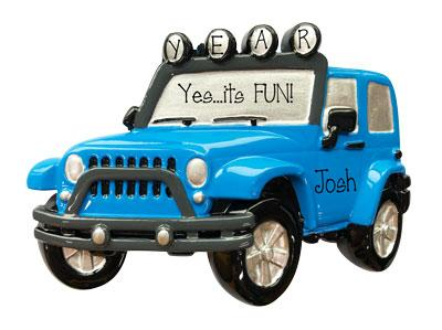 wrangler, Blue Jeep 4x4 personalized ornament