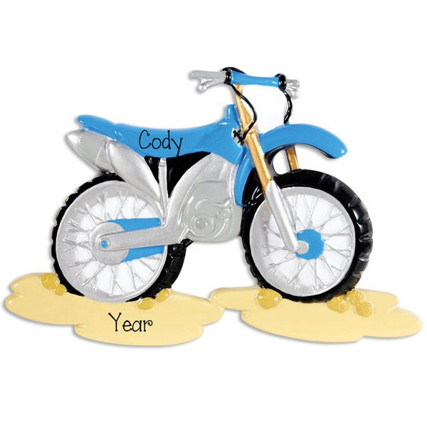 Blue Motocross Personalized Christmas Ornament