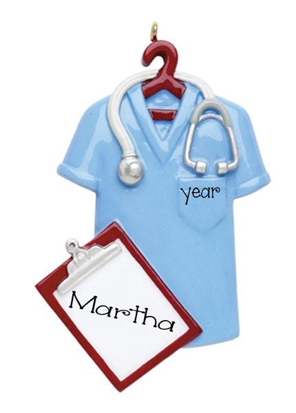 BLUE SCRUBS-PERSONALIZED ORNAMENT