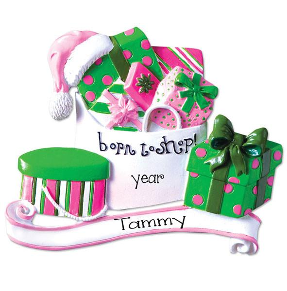 BORN TO SHOP - Personalized Christmas Ornament