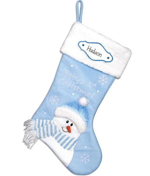 BABY BOY'S 1ST PERSONALIZED CHRISTMAS STOCKING