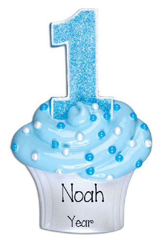 First Birthday Cupcake Boy My Personalized Ornaments