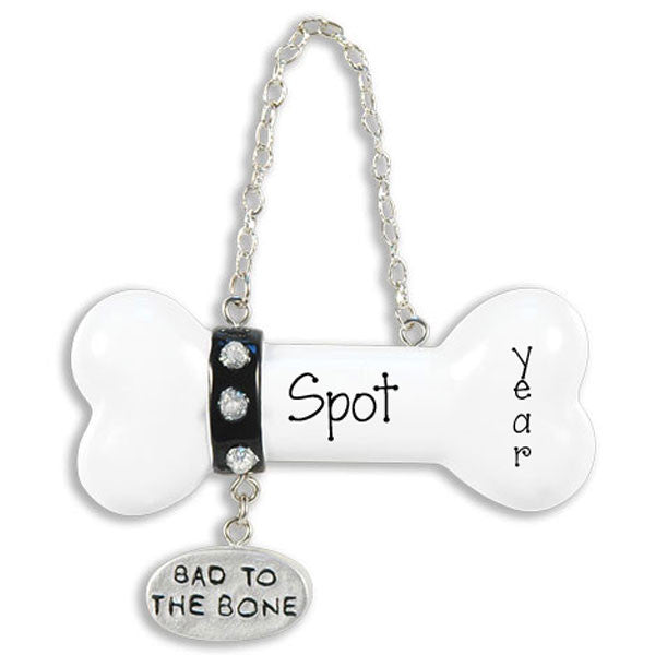 Dog bone, bad to the bone Personalized Christmas Ornament