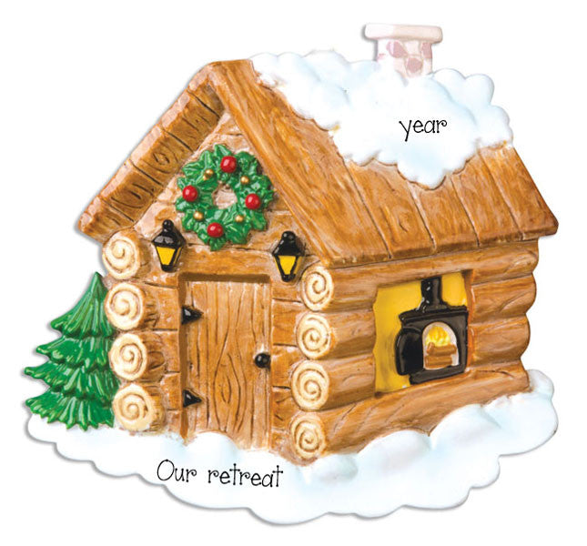 LOG CABIN - Personalized Ornament