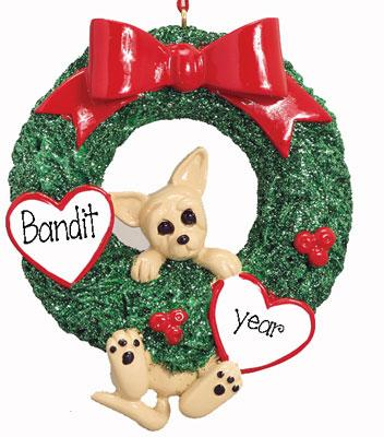 CHIHUAHUA IN GREEN WREATH ORNAMENT / MY PERSONALIZED ORNAMENTS