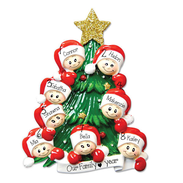Family of 8 christmas Tree - Personalized Ornament