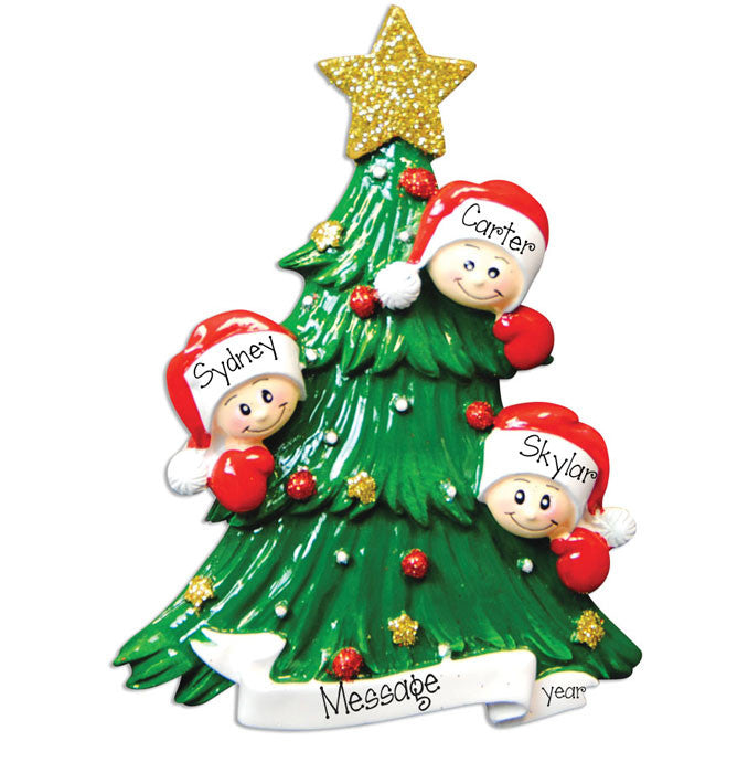 Family of 3 Christmas Tree - Personalized Ornament