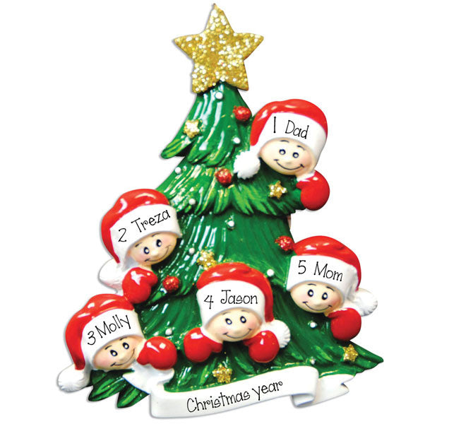 Family of 5 christmas Tree - Personalized Ornament