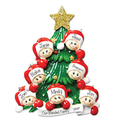 our blended family of 7 Christmas Tree Personalized Ornament