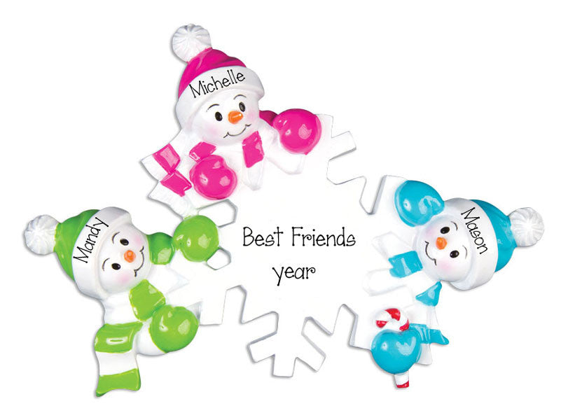 colorful snowmen friends, personalized Christmas ornament