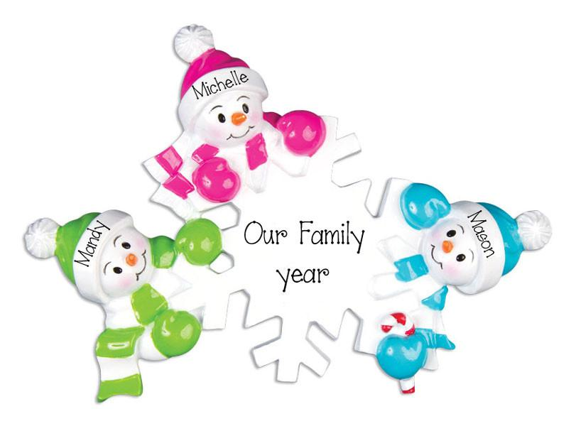 Colorful Snowman Family of 2~Personalized Christmas Ornament