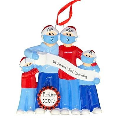 Family of 4~Social Distancing Together~Personalized Christmas Ornament