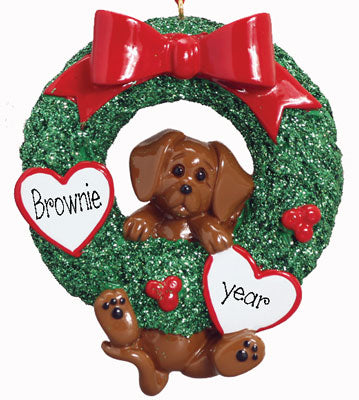 DACHSHUND in Green Wreath -Personalized Christmas Ornament