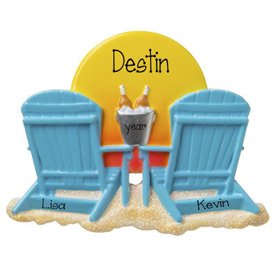 Watching the sunset on the Beach-Personalized Ornament