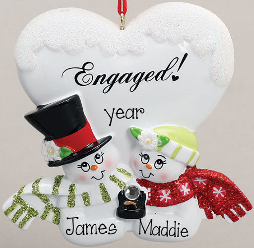 ENGAGEMENT HEART w/ COUPLE & RING Ornament