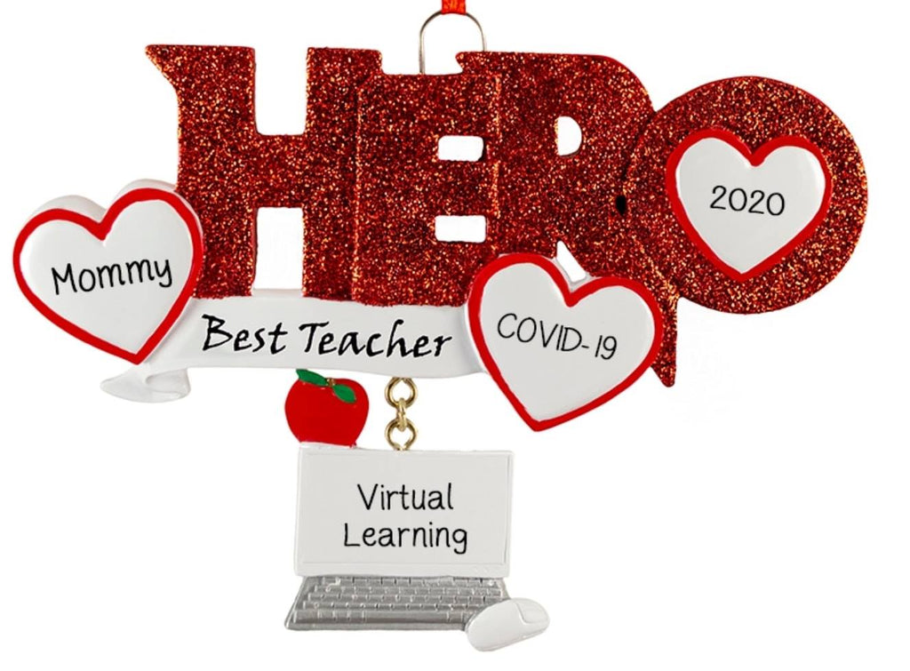 Hero in Red Glitter for Teacher~Covid-19~Personalized Christmas Ornament