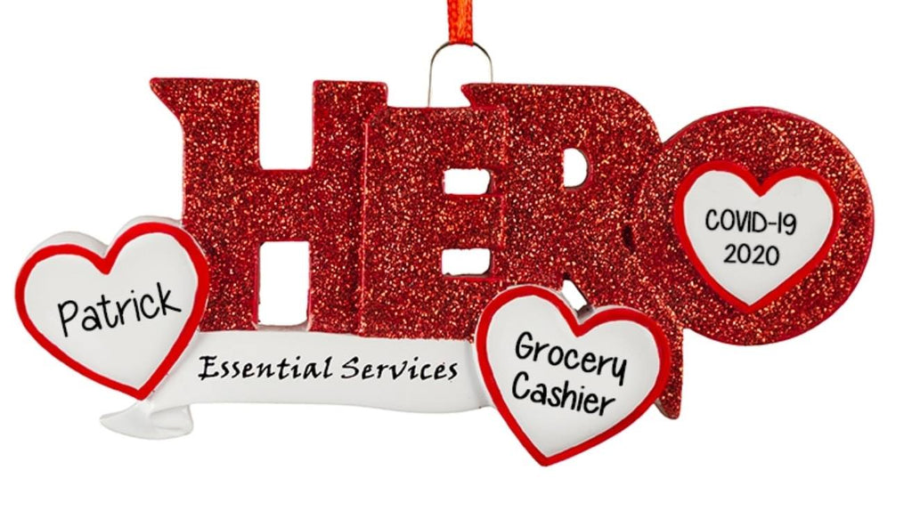 HERO Essential Worker~Covid-19~Personalized Christmas Ornament