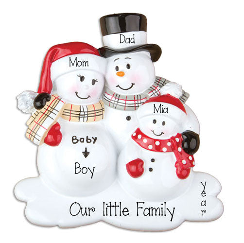 Expecting Family of Three-Personalized Christmas Ornament