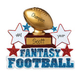Fantasy Football with Blue  Glitter~Personalized Christmas Ornament