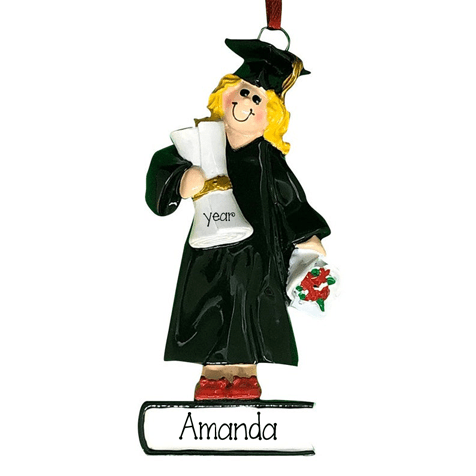 Female Graduate Blonde ~ Personalized Christmas Ornament