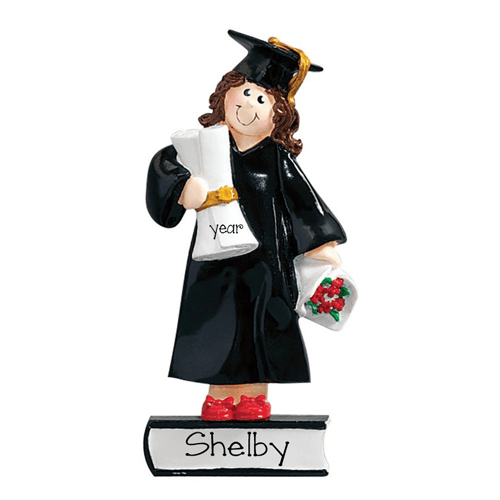 Female Graduate Brunette ~ Personalized Christmas Ornament