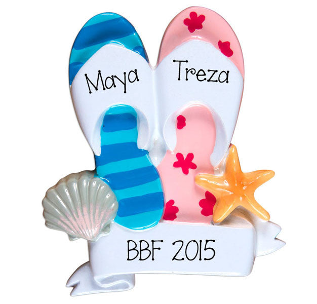 Best Friends Flip Flops~Personalized Christmas Ornament