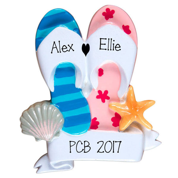 Flip Flops Couple~Personalized Christmas Ornament
