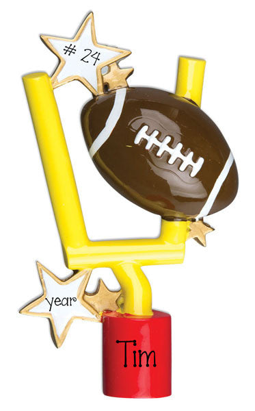 FOOTBALL w/ GOAL-PERSONALIZED ORNAMENT