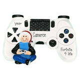 gamer with controller ~ Personalized Christmas Ornament