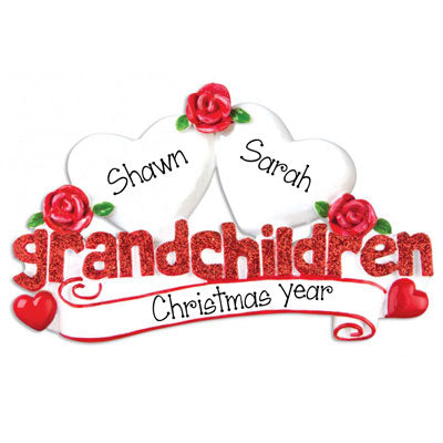 Two Grandchildren in red Glitter with 2 white hearts~Personalized Table Topper