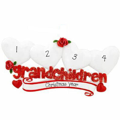 Four Grandchildren with Red Glitter~Personalized Table Topper
