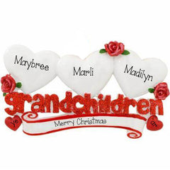 Three Grandchildren with red Glitter with 3 white hearts~Personalized Table Topper