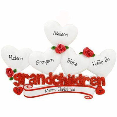 Five Grandchildren with Red Glitter~Personalized Table Topper