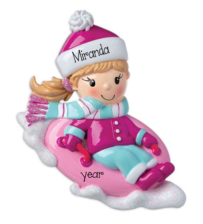Girl Snow Tubing~Personalized Ornament
