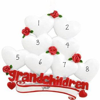 8 Grandchildren with Red Glitter~Personalized Table Top Decor`