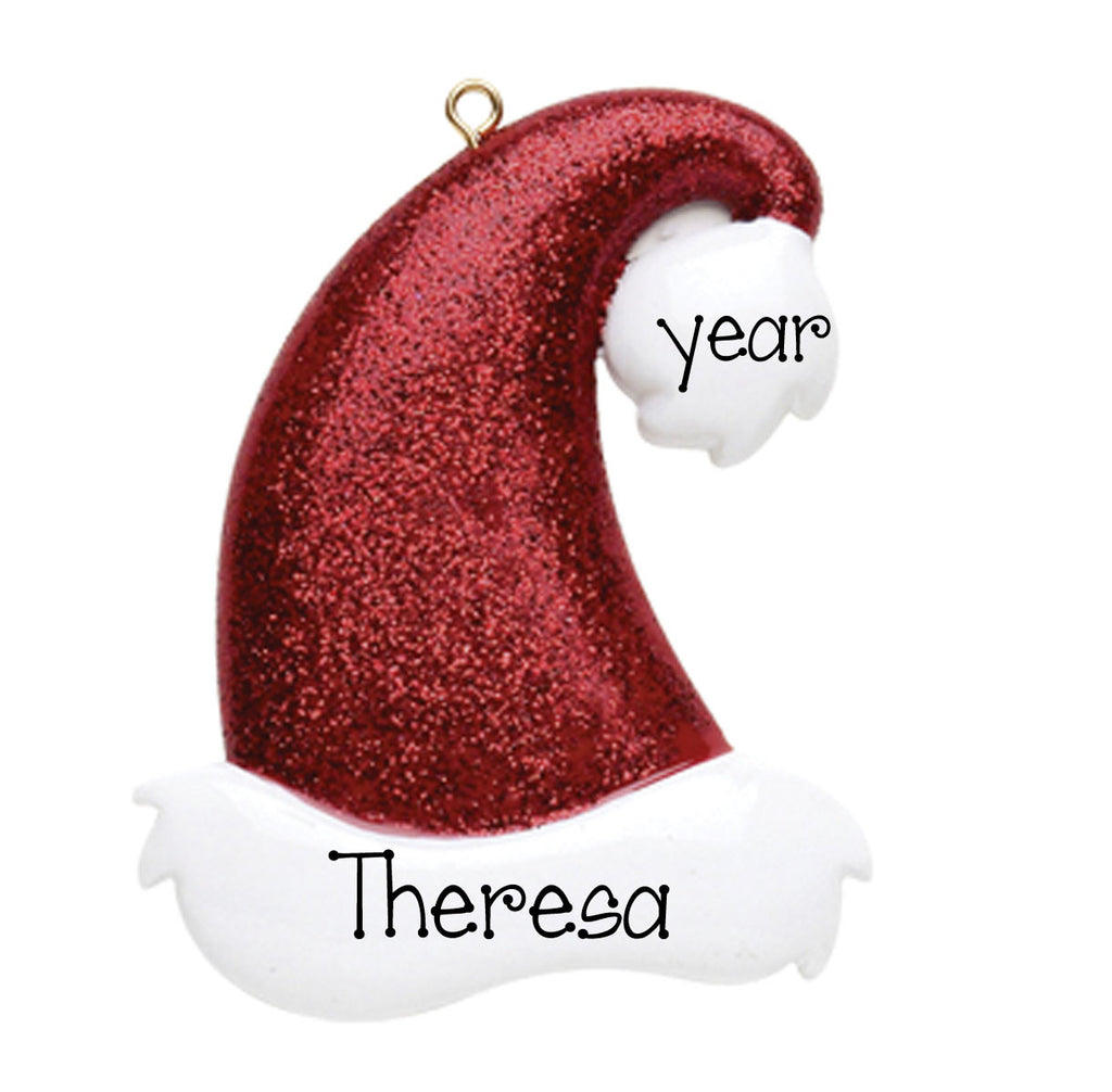 Red Glitter Hat-Personalized Ornament
