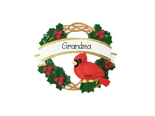 Cardinal bird on a Wreath for Grandma~Personalized Christmas Ornament