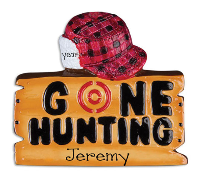 PERSONALIZED CHRISTMAS ORNAMENT, gone hunting