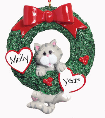 Gray Tiger CAT in Wreath~Personalized Christmas Ornament