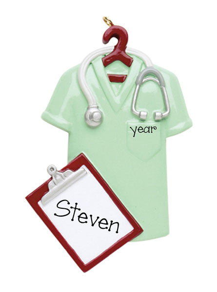 GREEN SCRUBS WITH CLIPBOARD AND STETHOSCOPE PERSONALIZED ORNAMENT