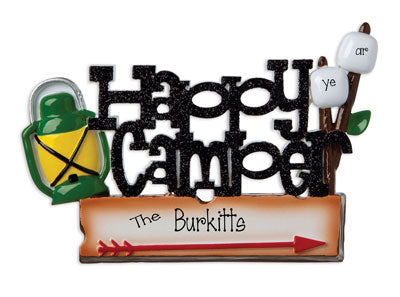 Happy Camper in Black glitter~Personalized Christmas Ornament