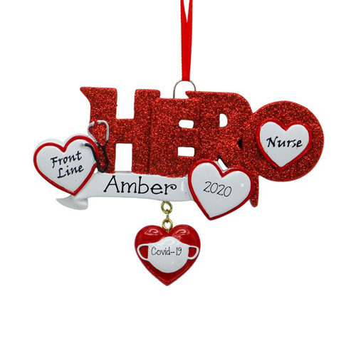 Hero in Red Glitter for Nurse~Covid-19~Personalized Christmas Ornament