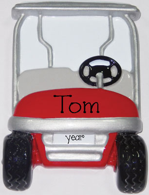RED GOLF CART ORNAMENT / MY PERSONALIZED ORNAMENTS