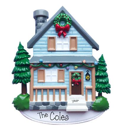 Blue Country House with Porch~Personalized Christmas Ornament