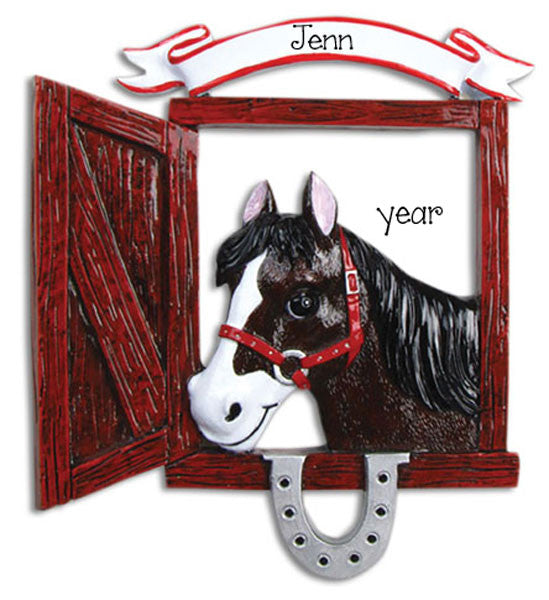 HORSE IN STALL-Personalized Ornament