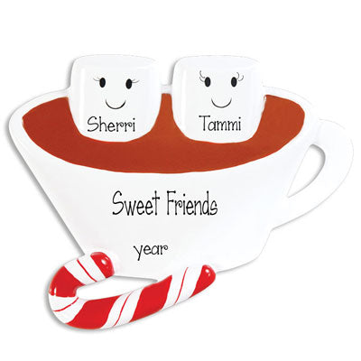 Hot Chocolate with two Marshmallows for Friends~Personalized Ornament